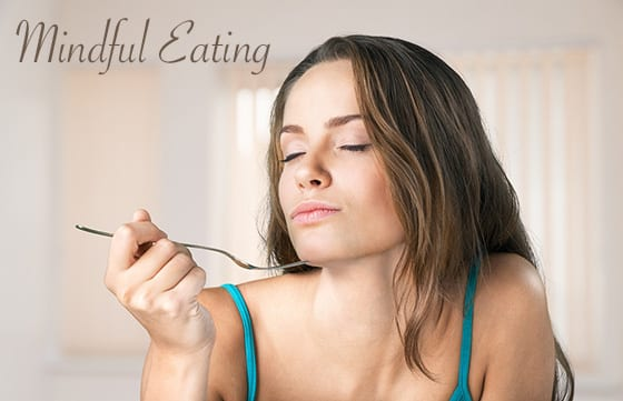Woman Being Mindful While Eating